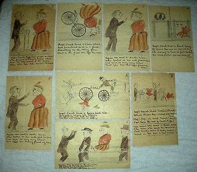 ANTIQUE LATE 1800S FOLK ART HUMEROUS DRAWINGS WOMAN TRYING TO LOSE WEIGHT vafo