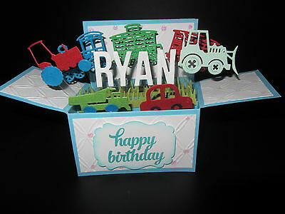 Handmade 3D birthday card in a box -Trains & tractors , PERSONALISED