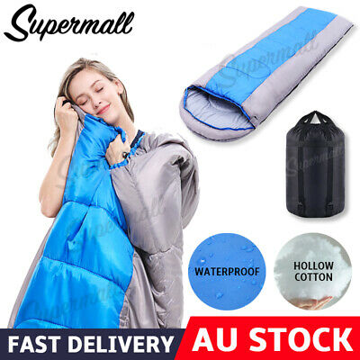 2018 New Single Outdoor Camping Sleeping Bag Hiking Thermal Winter 220x75cm AU