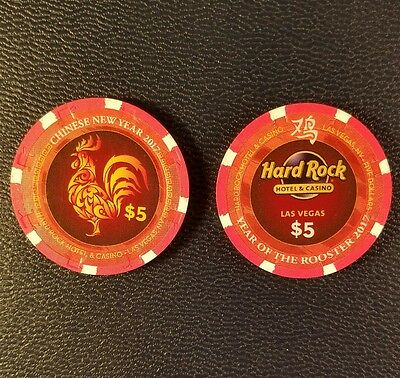 hard rock las vegas chinese new year of the rooster $5 casino chip unc