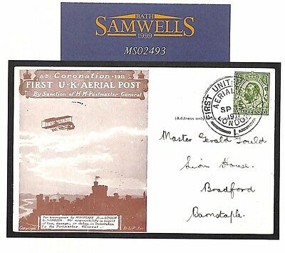 MS2493 1911 GB FIRST UK AIR POST Commemorative Card *Committee Message* SCARCE