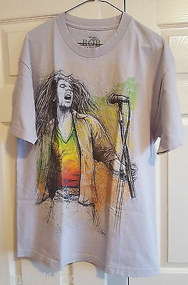 T-Shirt Bob Marley Microphone L Gray Reggae Cotton Made In Mexico Graphic Tee