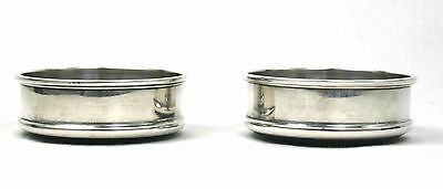 Vintage Sterling Silver Wine Glass Coasters Pair Turned Wooden Base London 1971