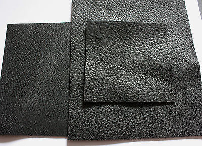 "SOFT BLACK LEATHER PIECES Pebble  2.5mm thick  cowhide 12""x12"" various sizes"