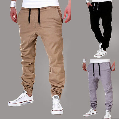 New Mens Sweatpants Lanyard Casual Pants Jogger Dance Sportwear Baggy Trousers