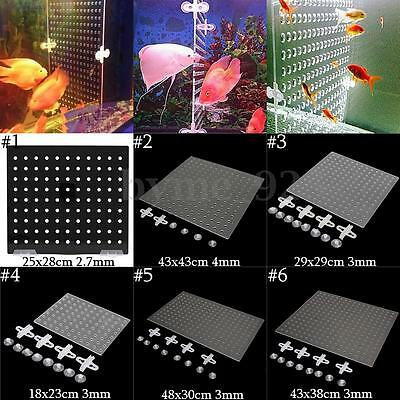 5 Size Tank Aquarium 3/4mm Acrylic Divider With Holes + Suction Clips Breathing