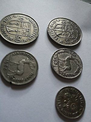 5 Mauritius Coins 1951 And 1950 King George Vi