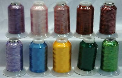 Starlite Embroidery Machine Thread Rayon 10 x 1,000m Spools Mixed Pack
