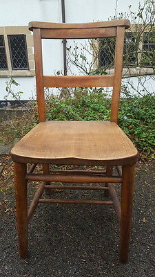 A Lovely Old Vintage/Antique Ash/Elm Chapel/Church Chair with Hymnbook Shelf