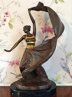Large Heavy Bronze Sculpture Art Deco Design Dancer Lady Figurine Marble Base