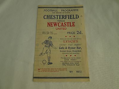 1947-48 DIV 2 CHESTERFIELD v NEWCASTLE UNITED ( SUPPORTERS CLUB ISSUE )