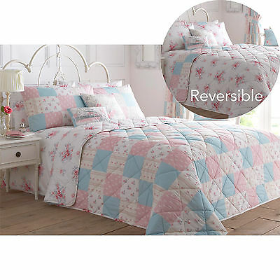 Vintage Chic Rose Floral Quilted Bedspread with Pink & Blue Patchwork Pattern