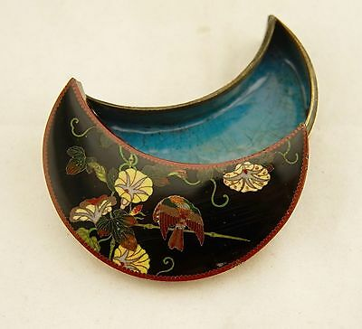 Namikawa type Meiji Japanese antique wired Cloisonne crescent shaped kogo box