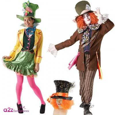 30fbc4fba65 Mens Womens Lady Mad Hatter Fancy Dress Costume Hat With Hair Accessory  Book Day