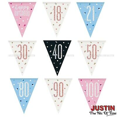 TRIANGLE FLAG BANNER Milestone Party BUNTING Decorations 9ft Glitz 13th - 100th