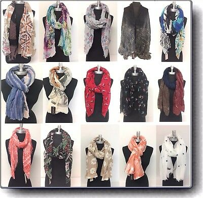 Lady Vintage Women Long Soft Voile Print Scarves Shawl Wrap Pashmina Stole & SIM