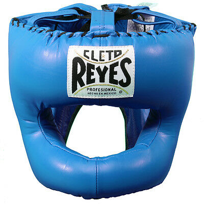 Cleto Reyes Traditional Leather Boxing Headgear with Nylon Face Bar - Blue
