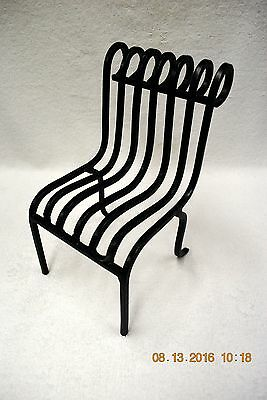 """VINTAGE  DOLL WROUGHT IRON METAL  CHAIR  ~  5"""" wide  x  9"""" high"""