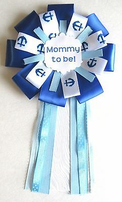 Handmade Boys Blue Nautical Anchor Mommy to be corsage Ribbons Baby Shower