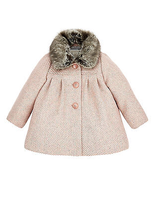 Monsoon Children's Baby Coat Jacket Annie Tweed Pink Grey Detachable Fur Collar