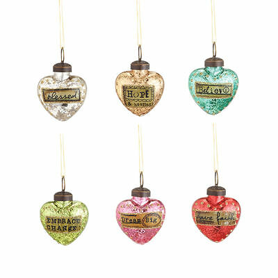 Mini Glass Heart Ornaments with Messages Valentine Kelly Rae Roberts New