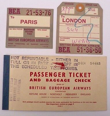 Bea Passenger Ticket And Baggage Checks March 1951 ~ London Northolt To Paris