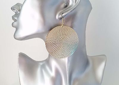 """Gorgeous large gold tone patterned round disc drop hoop earrings,  6cm - 2.4"""""""