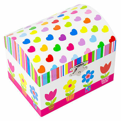 Floral Hearts Musical Jewellery Box Childrens Organiser Case Gifts For Girls