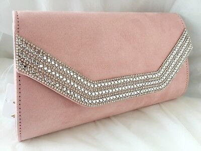 New Baby Powder Pink  Faux Suede Evening Day Clutch Bag Wedding Prom Club Party