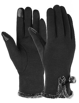 Touch Screen Gloves Women Lined Thick Winter Warm Gloves Outdoor Black