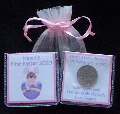 PERSONALISED LUCKY SIXPENCE BABYS FIRST EASTER KEEPSAKE GIFT 10 DESIGNS