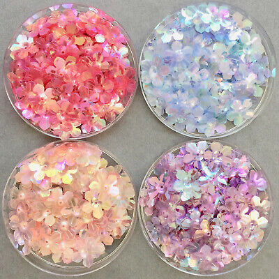 100 x 13.5mm Pretty Flower Cupped Sequins - 4 iridescent colours available.