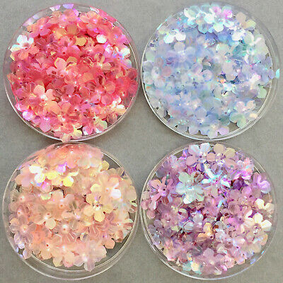 100 x 13.5mm Pretty Flower Sequins - Clear/Shell Pink/Blue Iridescent Colours.