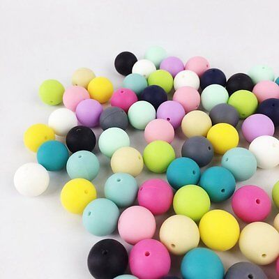 100pc 12mm Silicone Beads Loose Teething Chew Jewelry Teething Necklace Teether