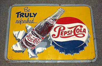 Superb 1950's rare Canadian PEPSI-COLA tin graphic sign FREE SHIPPING!
