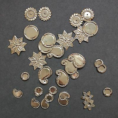 SALE! 32 x Indian Metal Sequins - mixed shapes - star/circles/paisleys./flowers.