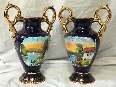 Pair Beautiful Blue Porcelain Gilt Vases Sevres Style Reproduction