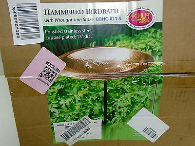 Achla Designs BBHC-01T-S Hammered Birdbath Copper Bowl with Stand BOX DAMAGE