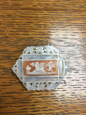 Vintage Carved Mother of Pearl w/ Cherubs Carved Shell Cameo Pin