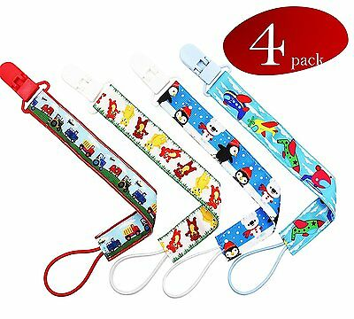 Baby Pacifier Clips, 4 Pacifier Clip Pack, Pacifier Holder for Boys, Polyester