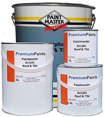 Paintmaster Heavy Duty Acrylic Roof & Tile Paint (20ltr, 5ltr, 2.5ltr & 1 Litre)