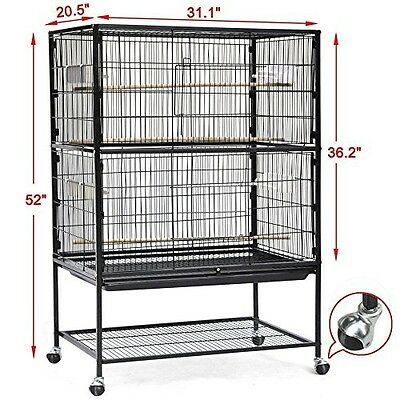 Breeding Large Bird Cage Double Tier Parrot Cockatoo Finch Canary Aviary Stand