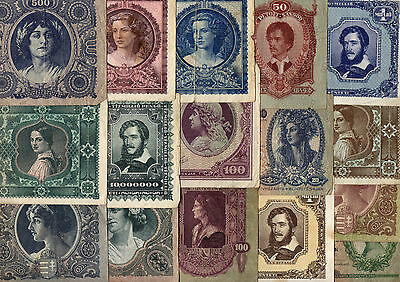 Hungary, 16 old original banknotes 1930-1946 G-XF, all different