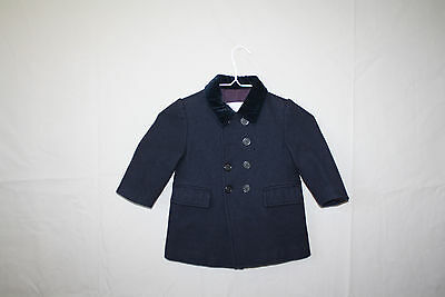 Vintage Imp Toddler Coat Navy Blue 1970s Double Breasted Wool Velvet Coat 18M 2T