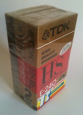 New & Sealed 3 TDK VHS Blank Video Tapes 1x HS E-180; 2x E-240 (11 Hour Pack)
