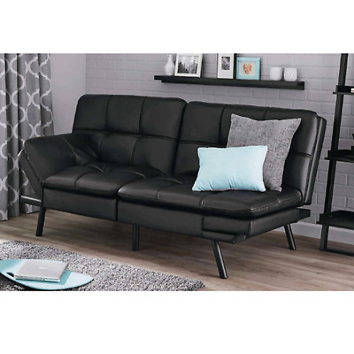 Adjustable Futon Leather Sofa Convertible Foldable Couch Sectional Bed Black