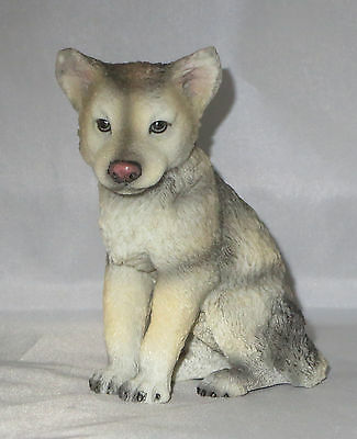 "Wolf Cub Sitting Figurine 4.5"" High Wild Animals Pup New Wildlife"