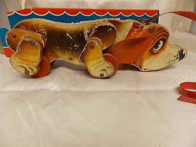 1950-60's Fisher Price Snoopy Sniffer Pull Toy  No 180-Wood Toy Paper Covered