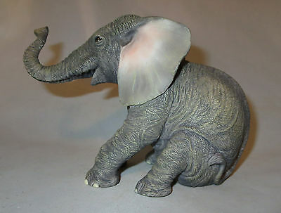 Baby Elephant Sitting Figurine Sculpture Trunk Wild Animals Statue NIB Safari