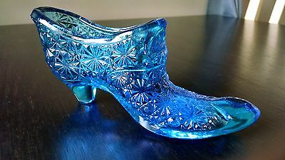 Vintage Blue Glass Daisy and Button Slipper Shoe